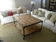 good idea for a coffee table. Wonder if it can it be made with a metal bed frame...