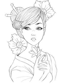 geisha drawing - Cerca con Google