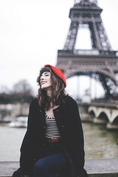Finch & Fawn red hat, red lips, stripe shirt, black coat, jeans