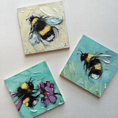 Having fun with these teenie 2x2's #beeartwork #bees #beeart #brushstrokes #colorful #nature #birdlover #beehive #impressionistic#beesofinstagram #art #garden #whimsical #spring #laveryart #etsy #colorfulart #dailypaintings by alaveryart