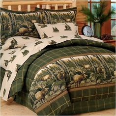 Rocky Mountain Elk - Bedding Set - Twin by ASB Closeouts. $104.99. Fabric is poly/cotton blend. Complete Bedding Set includes: Comforter Set + Sheet Set. 6 piece set. Lodge theme bedding set with elk print comforter set and sheet set. Wildlife themed lodge luxury: Rocky Mountain Elk Complete Bed Set, now ON SALE! Rocky Mountain high, Colorado... This complete Rocky Mountain Elk Bed Set is made for the outdoor enthusiast, featuring roaming elk against a forest backdrop with...