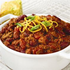 Slow Cookers Chili-always looking for an easy weeknight dinner and this is one of them. Must have shredded cheese, sour cream, and crackers or pasta shells.