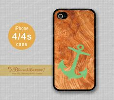 Wood+and+Green+Anchor++iPhone+4+Case+iPhone+4s+by+BlessedBazaar,+$8.99