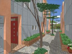 This simple and stylised 3D render from Fukui Computer, with its integrated Lightworks rendering engine, shows a peaceful and sunny courtyard with beautiful shadows cast by the trees.