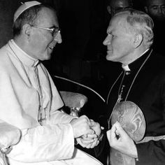 Pope John Paul I meets Cardinal Karol Wojtyla, the future Pope John Paul II, in this 1978 photo. Pope Francis has advanced the sainthood cause of Pope John Paul I with a decree recognizing his heroic virtues. John Paul I was pope for only 33 days before his death, in September 1978, led to the historic election of the Polish-born Cardinal Wojtyla, who took the name John Paul II to honor his predecessor. (CNS photo/L'Osservatore Romano via Reuters) PopeFrancis #PopeJohnPaul #TheSmilingPope…
