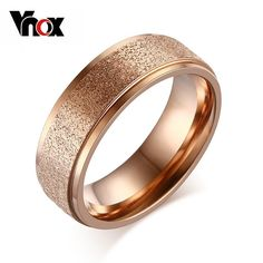 Fashion Rose Gold Plated Rings For Women Wedding Engagement Ring Sand Blasted Stainless Steel Jewelry