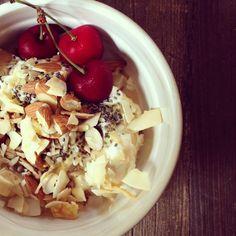 summer breakfast bowl parfait // @siggisdairy passion fruit yogurt • tahini • raw local honey • almonds • sunflower chia + hemp seeds • lime coconut crisps • @redjacketny cherries  #sashayogawellness #healthy #breakfast #yogurt #glutenfree #sugarfree #breakfastcriminals #wholefoodsmarket