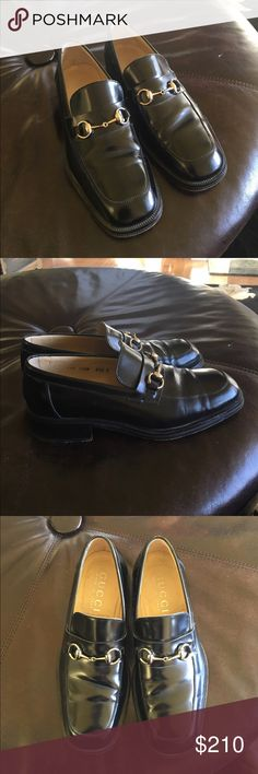 Gucci Loafers 100% AUTHENTIC My dad bought them a year or two ago but barely wore them because he bought the wrong size. Amazing condition as the pictures show. Size is 41 1/2. I know that's 11 and a 1/2 in women's. Unfortunately because he bought them a year or two ago i have no receipts nor gucci box, but i can promise they're 100% authentic. Have any questions just ask! :) Gucci Shoes Loafers & Slip-Ons