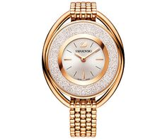 Crystalline Oval Rose Gold Tone Pulsera Watch
