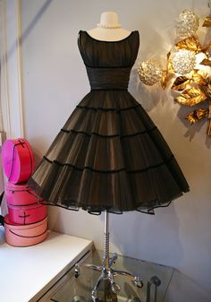 50s Dress // Vintage 1950's Black Beauty Party