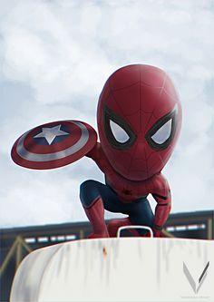Fan art of the Spider-man appearance in Marvel& Captain America Civil War Chibi Spiderman, Baby Spiderman, Chibi Marvel, Amazing Spiderman, Marvel Art, Marvel Dc Comics, Marvel Heroes, Avengers Series, Marvel Avengers