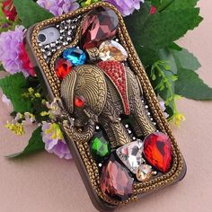 Alloy Elephant and Color Rhinestones DIY Handmade Phone Case Cover Deco Den
