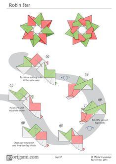 Robin Star by Maria Sinayskaya - Diagram | Go Origami!