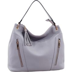 Mkf Collection Corinne Tasseled Hobo Bag ($31) ❤ liked on Polyvore featuring bags, handbags, shoulder bags, grey, faux leather purses, faux leather shoulder bag, grey hobo handbags, single strap shoulder bag and vegan purses