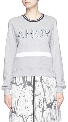 AHOY. Nautical Sweatshirt. Navy and White. Markus Lupfer. Classic Style.