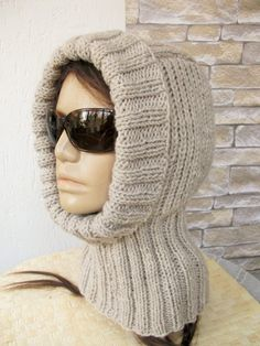 Womens knitted  Hood  Hat      Womens hat  Beige   Helmet by Ebruk