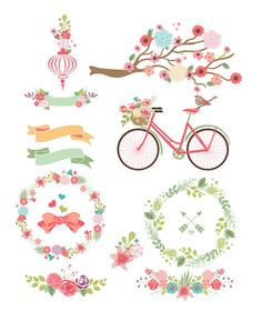 Colorful Flower frames bicycle and branches by BlackCatsMedia