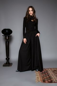 Étage trousers by Celeni Roll Neck, Trousers, Sculpture, Formal, Long Sleeve, Sleeves, Black, Style, Fashion