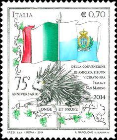 2014 - 75º anniversario della convenzione internazionale tra l'Italia e San Marino - Bandiera italiana, bandiera di San Marino e porcospino