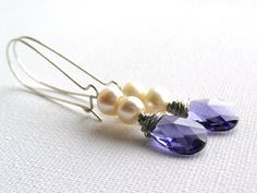 Long Pearls And Tanzanite Earrings by AquamarineJewelry, $31.00