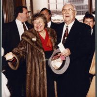 """Ohio University Libraries, Voinovich Collections. """"Governor Rhodes and Marge Schott at Governor Voinovich's inauguration, January 15, 1991."""" :: Ohio University Archives"""