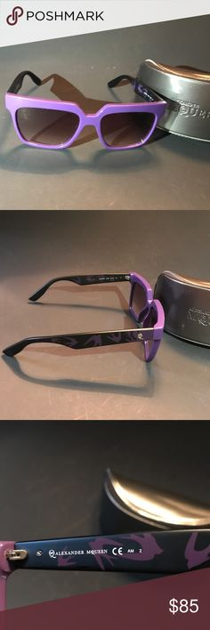"""💟💟ALEXANDER McQUEEN Sunglasses in Purple!!! ALEXANDER MC QUEEN MCQ0019/S shaped Square. 5 5/8"""" FROM POST TO POST 3 1/4 """" FROM CENTER OF LENS TO CENTER OF LENS.  These sunglasses have Acetate frame with Purple color!! As for the lenses, it is technology Dichromate, 100% unbreakable and offer comprehensive protection against harmful UVA and UVB. The model MCQ0019S is an ideal choice for protecting your eyes as it combines quality construction and economical price! **only one small nick by…"""