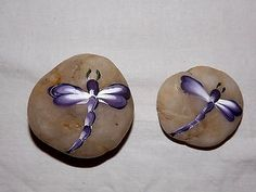 "Miniature Fairy Garden Rock ""Purple Dragonfly"" Painted 1 Deco Rock 