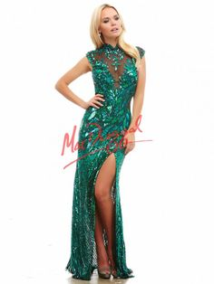 Peacock Green Prom Dress | Sequin Gown | Mac Duggal 4110A