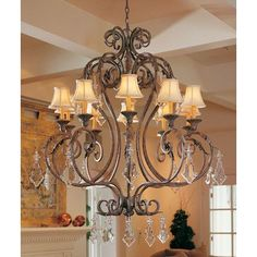 2nd Ave Design Josephine 10-Light Shaded Chandelier Finish: Copper Rust Premium, Shade: Black Trumpet