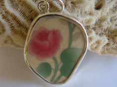 Broken China Necklace Pendant  Chaney Sterling by MaroonedJewelry, $35.00