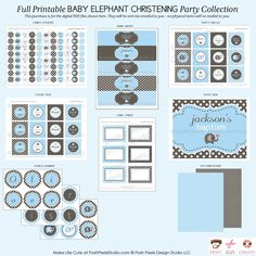 ELEPHANT - Full Printable Party Pack - Baptism, Christening, Dedication, Communion - DIY Elephant Christening Collection - by Make Life Cute. $65.00, via Etsy.
