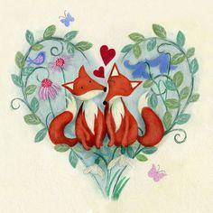 Foxy love Unframed limited edition print от JKIllustration