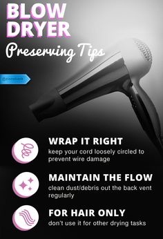 Don't blow out your hair dryer as quickly. #SaveMoney #DIYHome #HouseholdTips #HairDryerTip