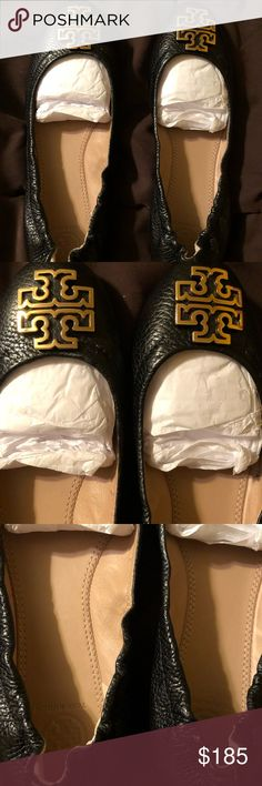 Tory Burch Melinda Ballet Flats Tory Burch Melinda Ballet Flats in black leather and gold. I was torn on keeping these or selling them. Never worn and just sat in my closet. Tory Burch Shoes Flats & Loafers