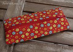 Ateliê da Russa: Estojo escolar Flores vermelho