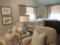 Gender Neutral Twin Nursery by Emily Hewett of A Well Dressed Home  http://awelldressedhome.com/before-after-twins-nursery-revealed/