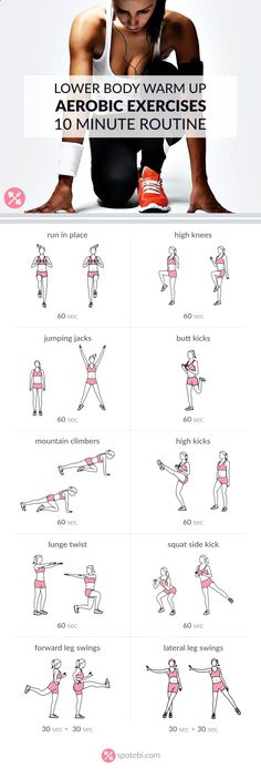 Get ready for your lower body workout with this set of warm up exercises. An at home routine with instructions, calories burned, music playlist and timer. www.spotebi.com/...