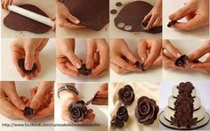 Modeling chocolate rose - no recipe just the pictures Chocolate Flowers, Love Chocolate, Mini Cakes, Cupcake Cakes, Chocolates, Modeling Chocolate, Sugar Art, Cake Tutorial, Gum Paste