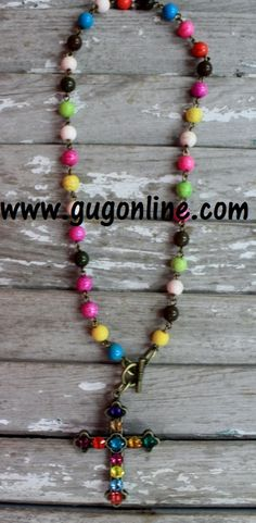 Multi Color Crystals on Multi Color Chain Necklace www.gugonline.com $44.95