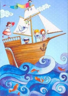 Ship at sea Artist Painting For Kids, Art For Kids, Decoration Pirate, Children's Book Illustration, Whimsical Art, Folk Art, Art Lessons, Art Drawings, Character Design
