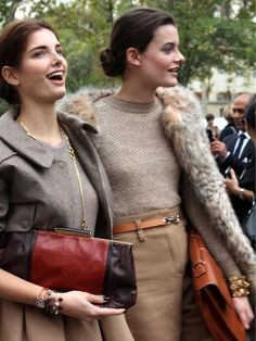 perfect autumn outfits:  neutral sweaters, leather, fur.