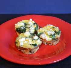 Spinach, Feta and Bell Pepper Mini Omelets