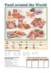 English teaching worksheets: Food around the world