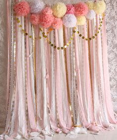 Pink white Lace Pom Poms flowers Sparkle fabric backdrop Wedding ceremony stage,birthday,baby shower backdrop party Garland curtainflowers and sparkly sequin paper Pom Poms flowers will arrive to you folded and pre-cut . All you need to do is help them blossom the backdrop is made with