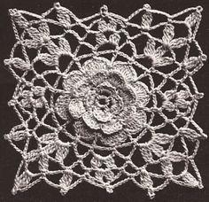 Vintage Irish Rose Crochet MOTIF BLOCK Bedspread PATTERN Cinderella