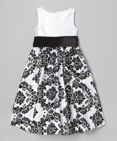 Take a look at this White & Black Damask Dress by Dream Kingdom on #zulily today!