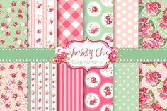 12 Shabby Chic Rose backgrounds ~ Illustrations on Creative Market