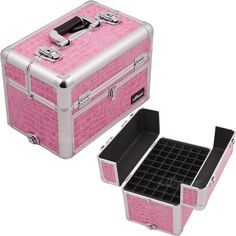 14 5 Inch Pink Crocodile Textured Interchangeable E Series Professional Aluminum Travel 54 Nail Polish Organizer Portable