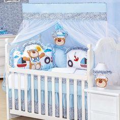 Quarto para Bebê sem Cama Babá Urso Náutico | Grão de Gente