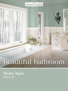 Dusty Aqua PPG10-29 from PPG Voice of Color is the perfect choice in designing a relaxing spa retreat for your bathroom. Dusty Aqua works well with crisp whites, and creamy neutral tones.